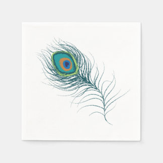 Fanciful Peacock Feather | Wedding Paper Napkin