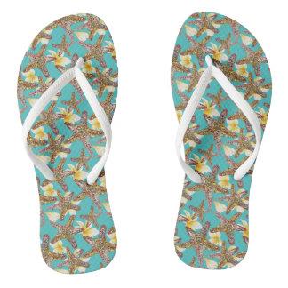 Fanciful Starfish Pattern Flip Flops