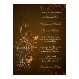 Fanciful Swirls Birdcage Orange & Brown Wedding Personalized Announcement