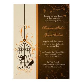Fanciful Swirls Birdcage Orange Brown Wedding Custom Invites