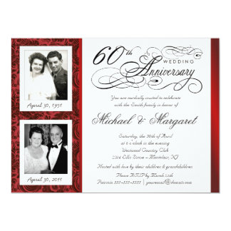 Fancy 60th Anniversary Invitations - Then & Now