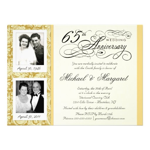 Fancy 65th Anniversary Invitations - Then & Now