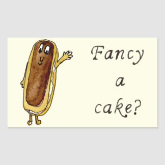 Fancy A Cake Funny Chocolate Eclair Quirky Art Rectangular Sticker