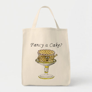 Fancy a cake Funny Quirky watercolour Art Design Tote Bag