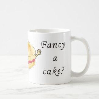 Fancy a Cake Funny Victoria Sponge Cake Slogan Art Coffee Mug