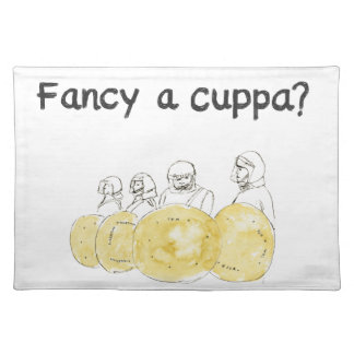 Fancy a Cuppa Funny Biscuit Police Watercolour Art Placemat