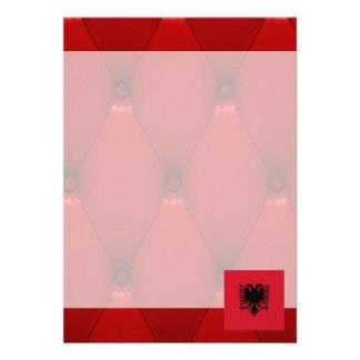 Fancy Albania Flag on red velvet background 13 Cm X 18 Cm Invitation Card