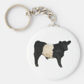 Fancy an Oreo? Belted Galloway Cow Basic Round Button Key Ring