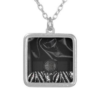 Fancy Animal Print Monogram Square Pendant Necklace