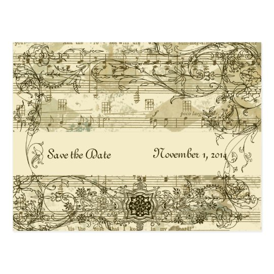 Fancy Antique Music Save the Date Postcard