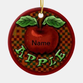 Fancy Apple Round Ceramic Decoration