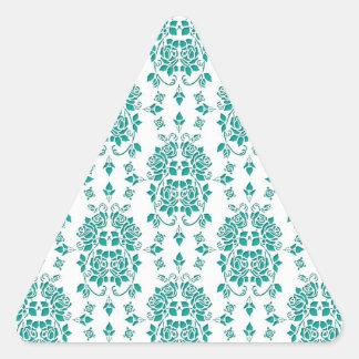 Fancy Aqua Teal Roses Damask Art Pattern Triangle Sticker
