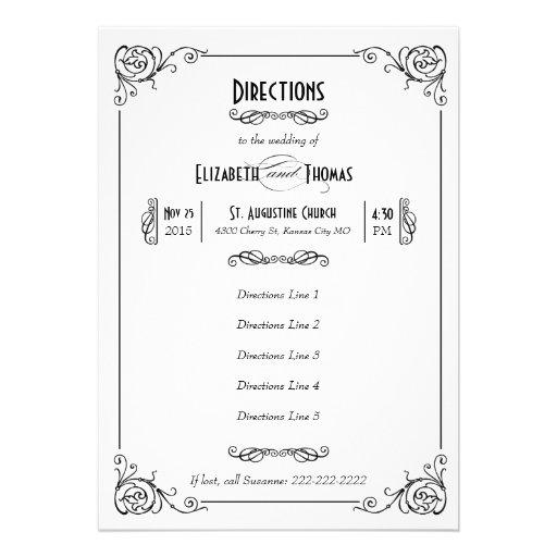 Fancy Art Deco Black & White Insert Card