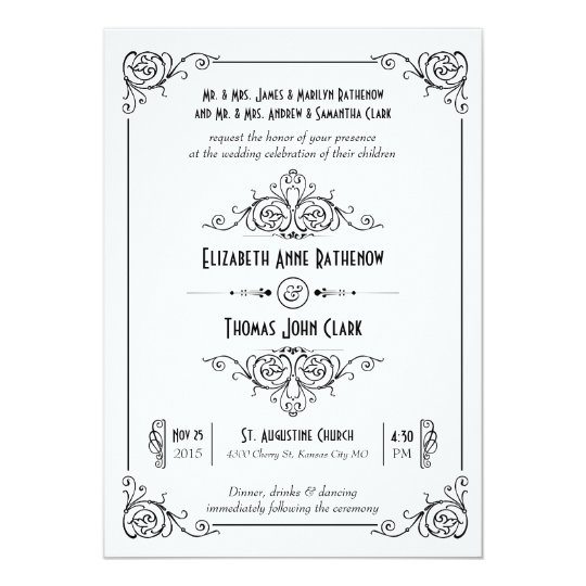 Fancy Art Deco Black & White Wedding Invitations