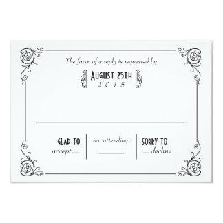 Fancy Art Deco Black & White Wedding RSVP Cards 9 Cm X 13 Cm Invitation Card