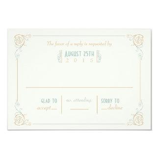 Fancy Art Deco Blue & Cream RSVP Cards 9 Cm X 13 Cm Invitation Card