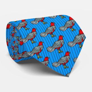 Fancy Birds on Pinstripe (Blue, Crimson, Gray) Tie