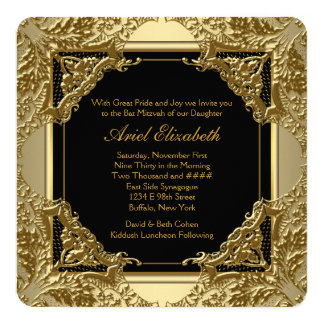 Fancy Black and Gold Bat Mitzvah 13 Cm X 13 Cm Square Invitation Card