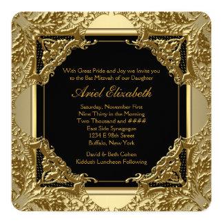 Fancy Black and Gold Bat Mitzvah 13 Cm X 13 Cm Square Invitation Card