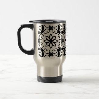 Fancy black and white flower kaleidoscope coffee mug