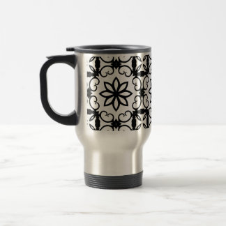 Fancy black and white flower kaleidoscope travel mug