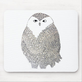 Fancy Black and White Owl Mousepads