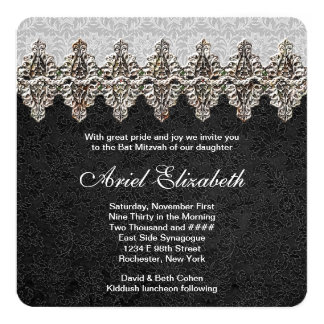 Fancy Black Bat Mitzvah 13 Cm X 13 Cm Square Invitation Card