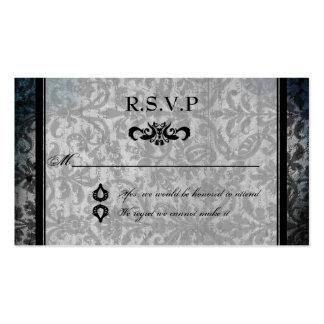 Fancy Black Damask Monogram Reception RSVP Card Business Card Template