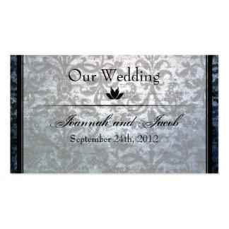 Fancy Black Damask Wedding Website Card Business Cards