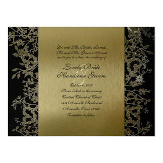 Fancy Black Gold Metallic Garden Wedding 17 Cm X 22 Cm Invitation Card