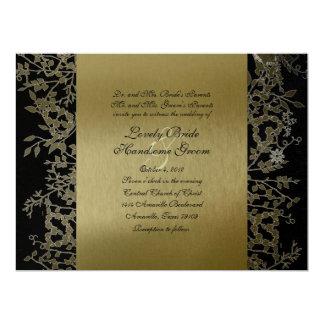 "Fancy Black Gold Metallic Garden Wedding 6.5"" X 8.75"" Invitation Card"