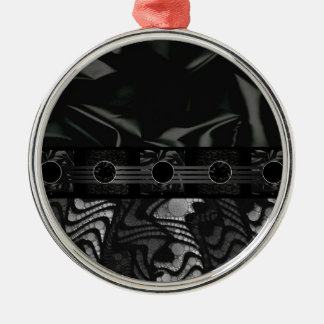 Fancy Black Grey Abstract Silver-Colored Round Decoration