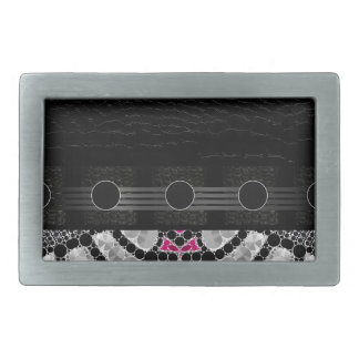Fancy Black Pink Abstract Belt Buckle