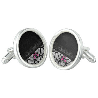 Fancy Black Pink Abstract Cuff Links