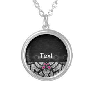 Fancy Black Pink Abstract Round Pendant Necklace