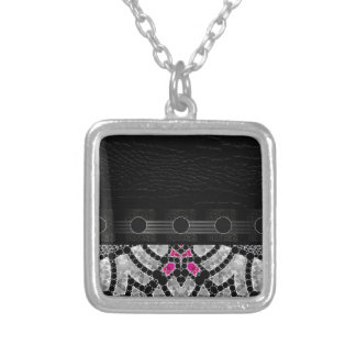 Fancy Black Pink Abstract Square Pendant Necklace