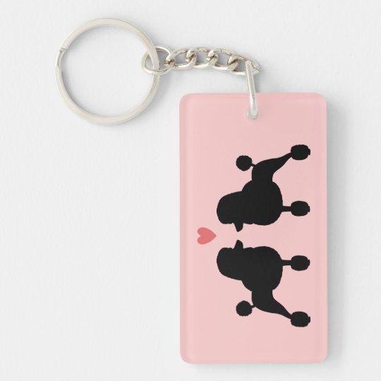 Fancy Black Standard Poodle Silhouettes with Heart Key
