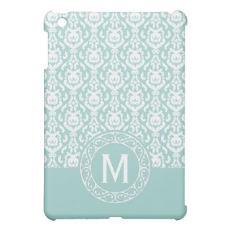 Fancy Blue and White Damask Monogram iPad Mini Cover