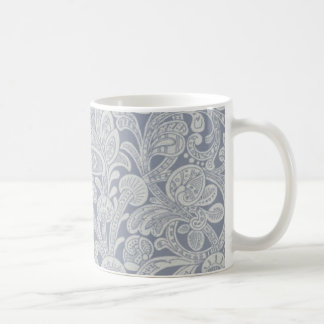 Fancy Blue Chambray Floral Mugs