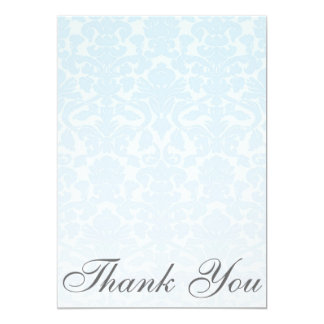 Fancy Blue Damask Thank You Card/Note 13 Cm X 18 Cm Invitation Card
