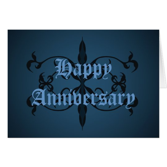 Fancy blue Gothic Anniversary card to personalise