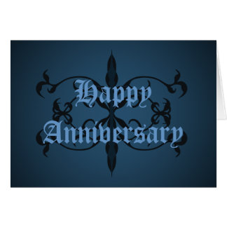 Fancy blue Gothic Anniversary card to personalize