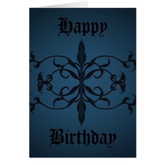 Fancy blue Gothic Birthday day to personalise Card