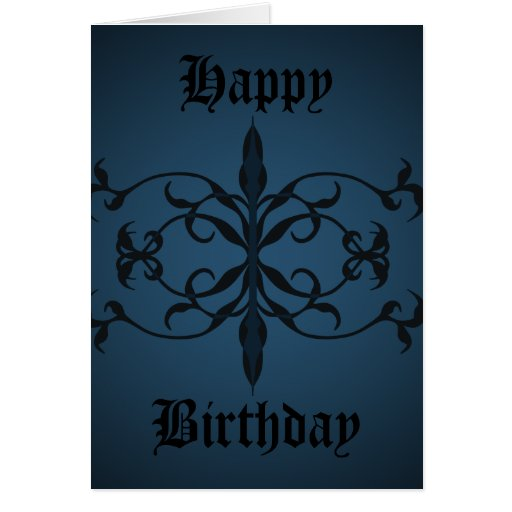 Fancy blue Gothic Birthday day to personalize Cards