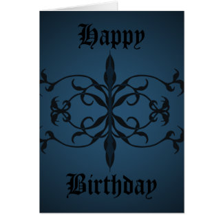 Fancy blue Gothic Birthday day to personalize Greeting Card