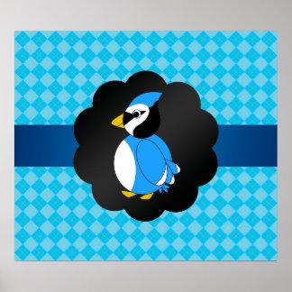 Fancy blue jay blue argyle pattern poster