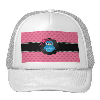Fancy blue owl pink hearts hat