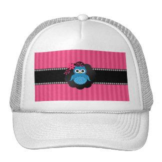 Fancy blue owl pink stripes mesh hat