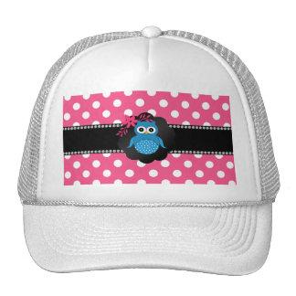 Fancy blue owl pink white polka dots hat