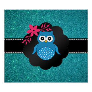 Fancy blue owl turquoise owl posters